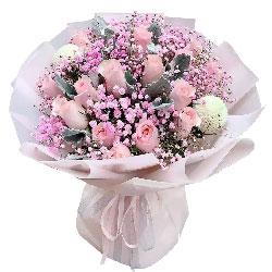 16朵戴安娜粉玫瑰,生命中最想伴着的人