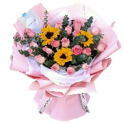 22朵戴安娜粉玫瑰向日葵,祝福绵绵