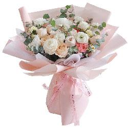 9朵香槟玫瑰+桔梗+康乃馨,幸福久久