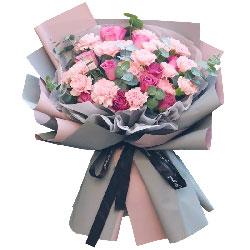 11朵苏醒粉玫瑰康乃馨,好运连连