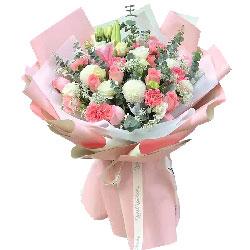 11朵戴安娜粉玫瑰康乃馨,永远幸福