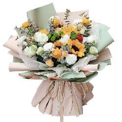 4朵向日葵,3朵香槟玫瑰,把握好人生