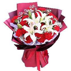 22朵红色康乃馨百合,幸福安康