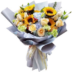 6朵向日葵,11朵香槟玫瑰,美妙的记忆