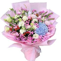 9朵戴安娜粉玫瑰绣球花,真诚的祝福送给你