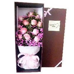 12朵戴安娜粉玫瑰礼盒,宝贝我爱你