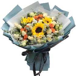 3朵向日葵,19朵香槟玫瑰,真诚的祝福