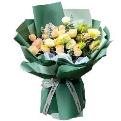 11朵香槟玫瑰,11朵桔梗,最大的快乐是拥有你