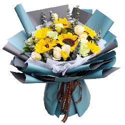 6朵向日葵,6朵香槟玫瑰,送你幸福