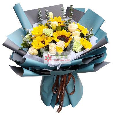 6朵向日葵,6朵香槟玫瑰,送你幸…