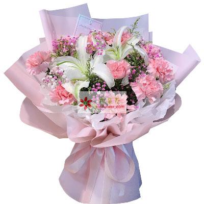 12朵粉色康乃馨百合,祝愿安康幸福长