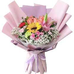9朵粉玫瑰向日葵,永远美丽青春