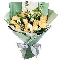 12朵香槟玫瑰,幸福的在一起