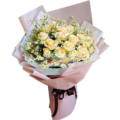 19朵香槟玫瑰,思念到你的心里