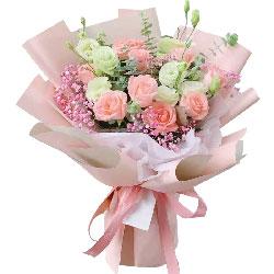 11朵戴安娜粉玫瑰,9朵桔梗,陪着你
