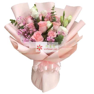12朵戴安娜粉玫瑰桔梗,美丽的爱情
