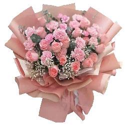 16朵戴安娜粉玫瑰康乃馨,浪漫甜蜜