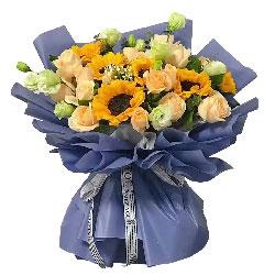 6朵向日葵,12朵香槟玫瑰,一泓清泉