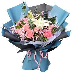 11朵戴安娜粉玫瑰百合,与你心电感应
