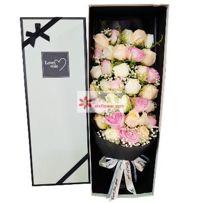 29朵玫瑰混搭礼盒,爱情之空