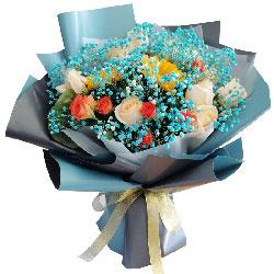 11朵香槟玫瑰,2朵向日葵,励志向上前程好