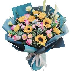 9朵向日葵,9朵苏醒粉玫瑰,圆圆满满