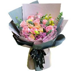 11朵戴安娜粉玫瑰桔梗,想你的日子