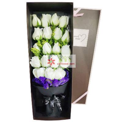 19朵白玫瑰礼盒,温暖的怀抱