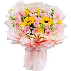 22朵戴安娜粉玫瑰向日葵,永远快乐安康