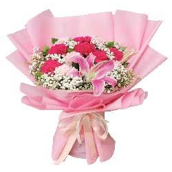 11朵康乃馨百合,最美好的祝愿