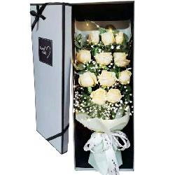 11朵香槟玫瑰礼盒,此生只爱你一个人