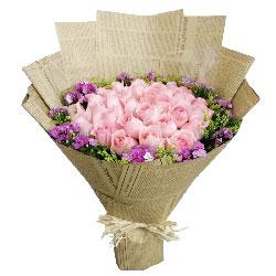 33朵戴安娜粉玫瑰,你的爱一世不变
