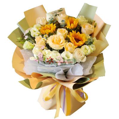 11朵香槟玫瑰,3朵向日葵,鹏程万里