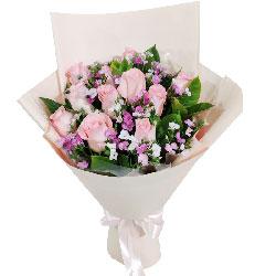 11朵戴安娜粉玫瑰,爱你坚持一生