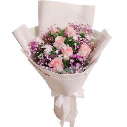 9朵戴安娜粉玫瑰,与你相伴到永远