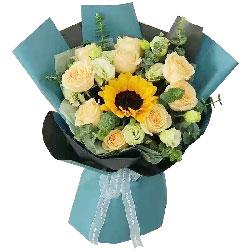 9朵香槟玫瑰,1朵向日葵,成功之路