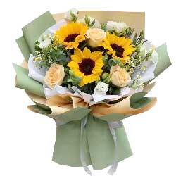 3朵向日葵,3朵香槟玫瑰,前程一切美好