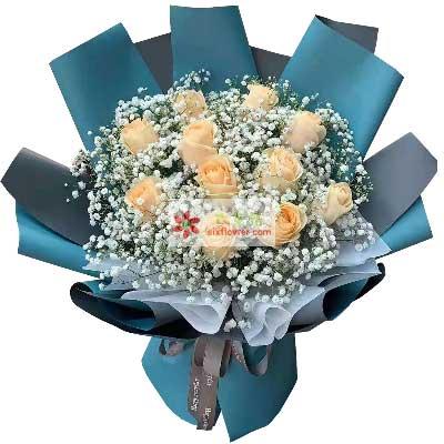 11朵香槟玫瑰满天星,爱你一生一世