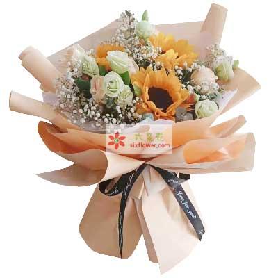 3朵向日葵,9朵香槟玫瑰,祝福你身体健康