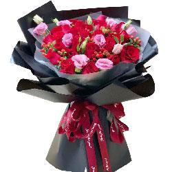 21朵红玫瑰桔梗,爱意只浓不淡