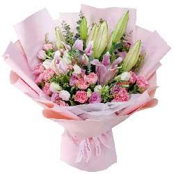 19朵粉色康乃馨百合,愿你安康快乐