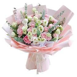 21朵戴安娜粉玫瑰桔梗,爱你的心永不变