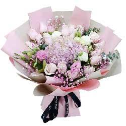 19朵戴安娜粉玫瑰绣球花,爱意久久