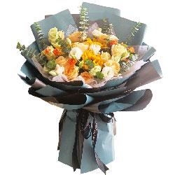 11朵香槟玫瑰,3朵向日葵,锦绣前程