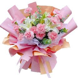 18朵粉色康乃馨百合,最诚挚的祝福