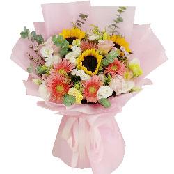 3朵向日葵扶郎花玫瑰花,深情的祝福