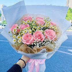 9朵戴安娜粉玫瑰,永远爱你
