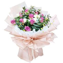 11朵紫玫瑰,9朵桔梗,爱意只浓不淡