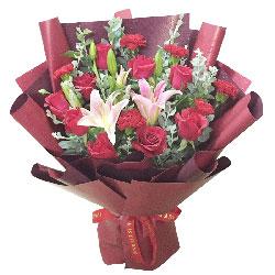 11朵红玫瑰康乃馨百合,愿你笑脸如鲜花
