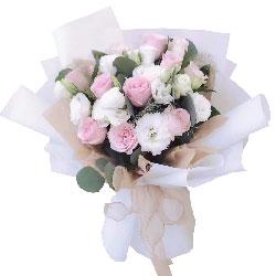9朵戴安娜粉玫瑰桔梗,浪漫相守